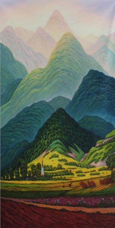 美坊手绘欧式风景山水油画客厅玄关过道装饰画靠山竖版挂画巨人山 美